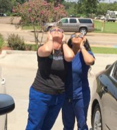 Kasmine Williams and Tricia Nelson from Wheat Physical Therapy viewed the Solar Eclipse.