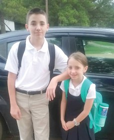 Wesley and Maggie Jordan are all dressed and ready for their first day in the eighth and fourth grade at Marthaville Elem/Jr. High School. Parents are Tracy and Edye Jordan of Robeline.