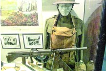 World War I American uniform and French Chauchat machine gun as used by the U.S. Army in France during World War I. (Robertson Collection)