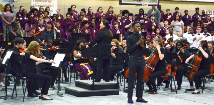 Johnathon Perry sang the 'Star Spangled Banner,' accompanied by the NCHS Orchestra.