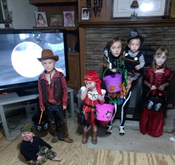 From left are Gunner Downs(hunter), Layne Downs(cowboy), Sophia Downs(pirate), Farrin Kerby('Dawn of the Dead'), Isabelle Kerby(witch) and Savannah Kerby(vampire).