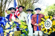 The Louisiana SAR Color Guard are, from left, Tony Vets, Colfax; Rodney McKelroy, Slidell; Jim Morock, Alexandria; and Ted Brode, West Monroe.