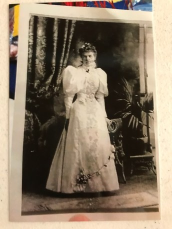 Bobby Gibson's great-grandmother in her wedding gown in 1897.