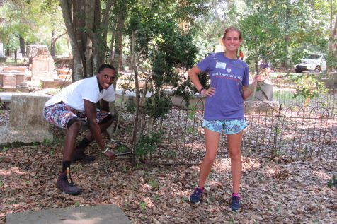 """Rory Loud - """"I'm an ROTC cadet. It's good to give back and help the community."""" Sarah Sargent - """"I'm with the PLP. It's great to give back with these great volunteers."""""""