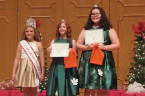 From left are Sixth Grade Christmas Angel and Photogenic Winner Madison Dupuy, First Runner Up Brianna Rae McConathy and Second Runner Up Mollie Durbin.