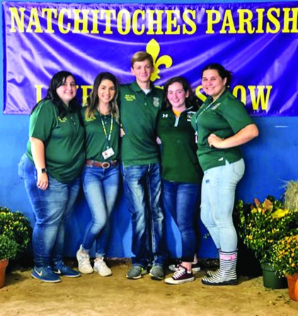 Lakeview FFA Chapter Officers volunteered at the Natchitoches Parish Fair by guiding elementary students throughout the fair exhibits. Exhibits included Livestock, S.W.A.T., D.A.R.E., Natchitoches Parish Library, etc. FFA members look forward to the opportunity to serve as tour leaders each year.Lakeview FFA chapter officers are, from left, Gracie Niette, Lexy Adams, Blake Smith, Averi Slaughter and Salem Johnson.