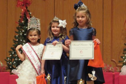 From left are Kindergarten Christmas Angel and Photogenic Winner Ava Faith Cole, First Runner Up Adleigh Teekell and Second Runner Up Kambria Katelyn Berry.