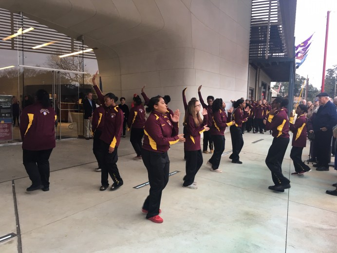 Members of the Natchitoches Central High School JROTC performed outside the museum before guests went inside to see the exhibiton.