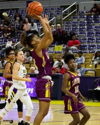 J'unti Franklin sinks her floater in second quarter. By LeRon Massey