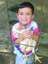 Justin Niette and the chickens name is Bob