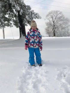 Adeline McLarty, enjoying her very first snow fall.