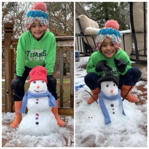 Breelyn Hall of Florien played dress up with her snowman.