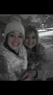 Meagan McNeely and Kellie Carter of Natchitoches with their grand pup Titan.