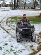 Drake Carnline of Florien did a little boogie boarding in the snow.