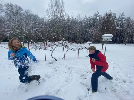 With snow, you have got to have a snow fight! Sister Vercher was running but her brother JJ was able to get a good one on her.