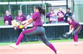 """Strong pitching by #14 Madison """"Maddie"""" Robinson who lasted seven innings striking out eight!"""