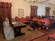 Natchitoches Magnet School third graders learned the ins-and-outs of the Lemee House. Guides Lilly Westfall and Madison Gorum portrayed Carrie Campbell and Lillie Sompayrac, cousins whose family owned the home in the 1800s.