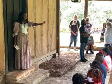Eighth grader Ciara Johnson captivated students as Pacale, a historical figure whose history traces back to when the Roque House was constructed.