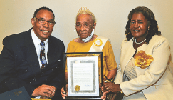 From left are Councilman Edward Ward, Robinson and Councilwoman Patsy Ward-Hoover.
