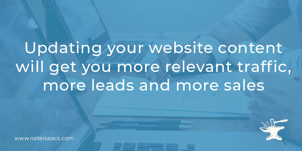Image quote about the benefits when you update your website content