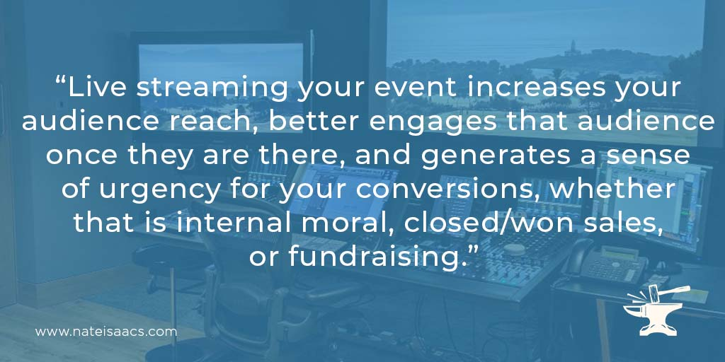Image quote about the benefits of live streaming for a post about the technical tips for live streaming.