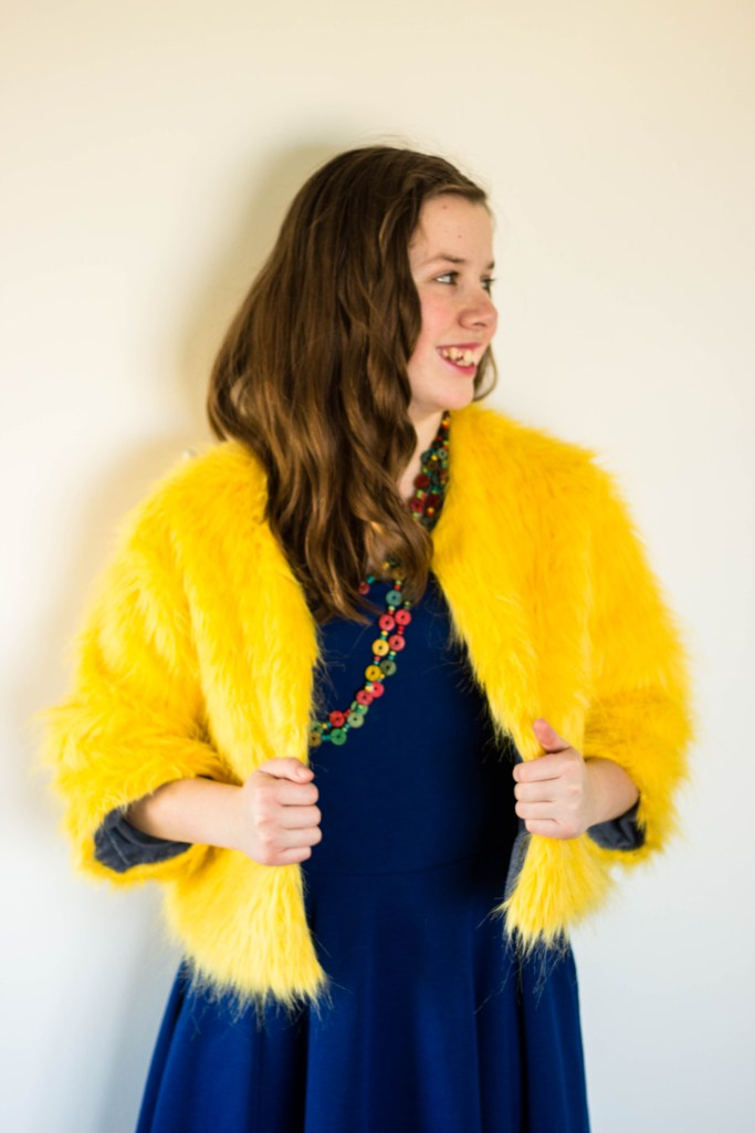 I was sick and tired of being practical which is why I made this yellow fur jacket. OK, I probably would have made the jacket anyways and was kinda looking for an excuse to make it. So yeah, I made a completely impractical yellow fur jacket and it was a lot of fun.