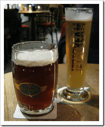 Two of the beers we enjoyed: The Krampus Winterbier (L) and the Jetstream Pilsner (R).
