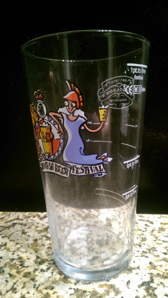 Clearly marked pint lines on one of my favorite glasses: Great British Beer Festival 2013