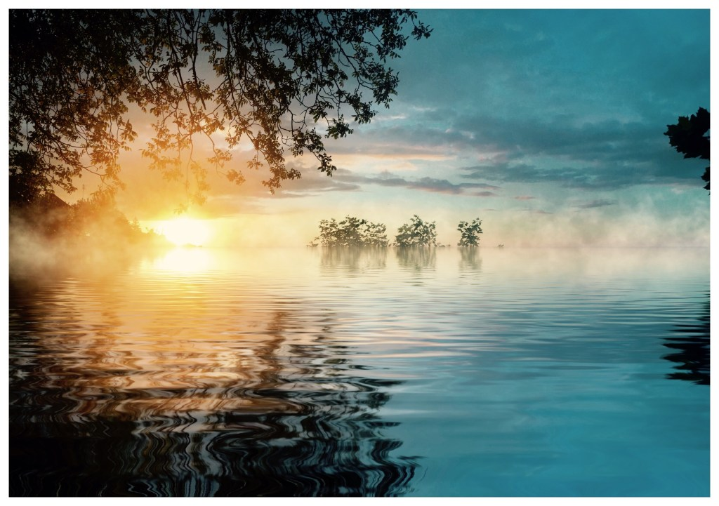 sunset fog