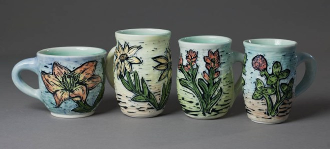 cups (flowers: lily, black-eye susan, indian paintbrush, clover)