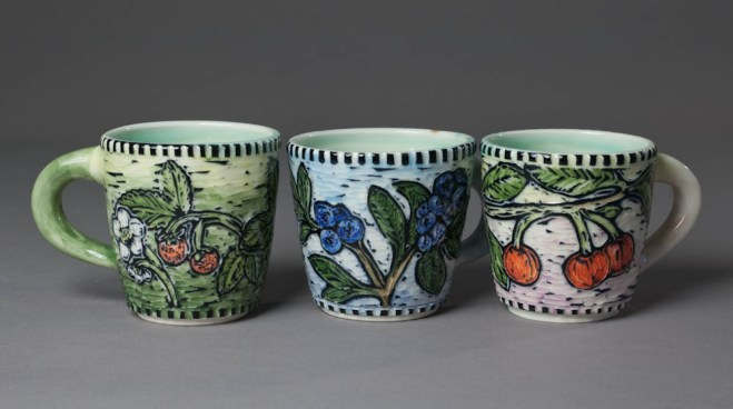 teacups (fruit: strawberry, blueberry, cherry)