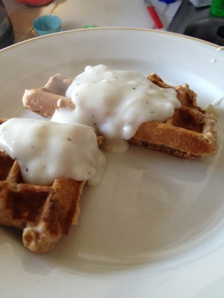 Biscuits made in a waffle maker, with gravy on top! Yum!