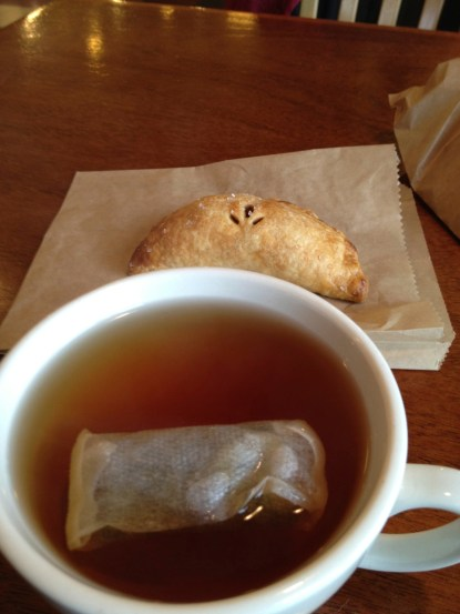 A nice hand apple-pie and some delicious Earl Grey tea from Blackbird Bakery on Bainbridge Island