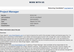 Job listing for Virgin Galactic