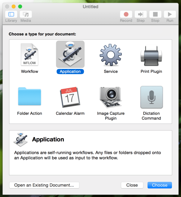 Automator - Application Type