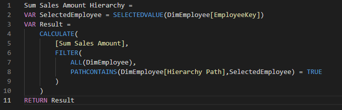 Sum Sales Amount Hierarchy DAX Code