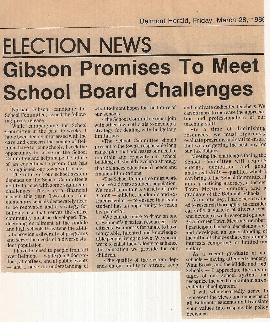 Nathan S. Gibson for School Committee Gibson Promises