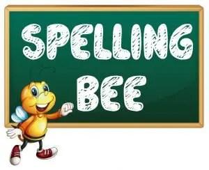 cartoon spelling bee on chalkboard