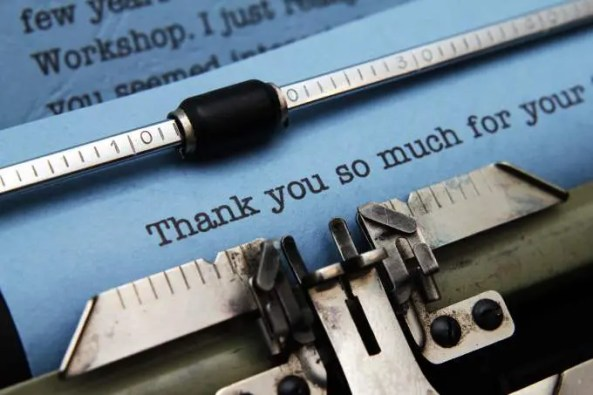 thank-you-letter on typewriter