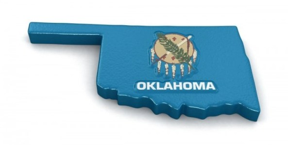 Oklahoma map with flag