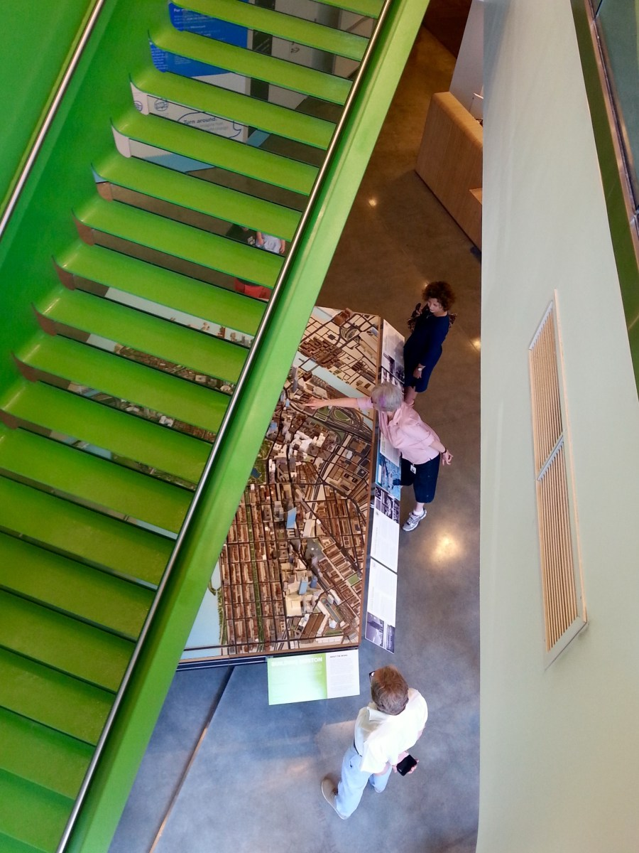 Under BSA Space's big green stairs