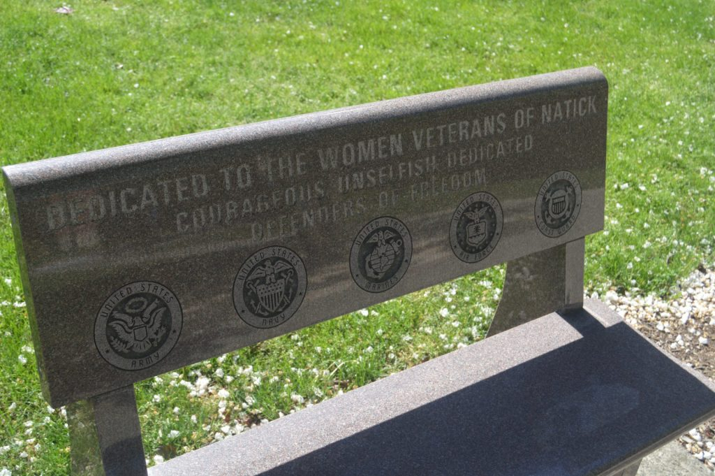 Women Veterans memorial bench at Morse Institute Library