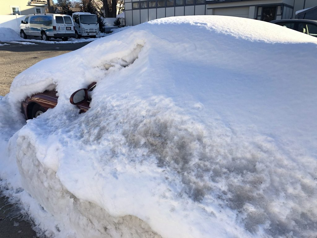 buried in snow car