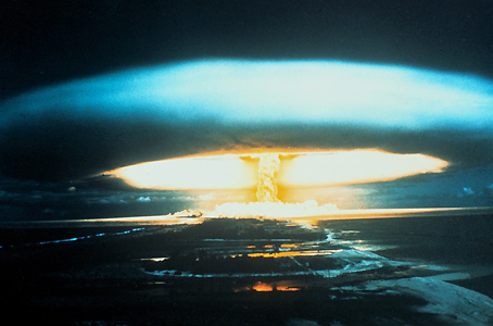 The 150-megaton thermonuclear explosion at Bikini Atoll on 1 March 1954 was one of a series of nuclear test explosions carried out by major powers in the 1950s.