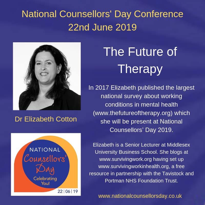 Dr Elizabeth Cotton at National Counsellors' Day 2019