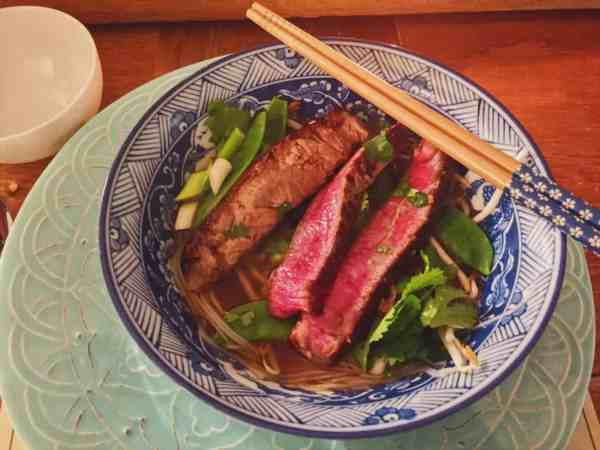 Build Vietnamese Pho from the bottom up with the beef on top