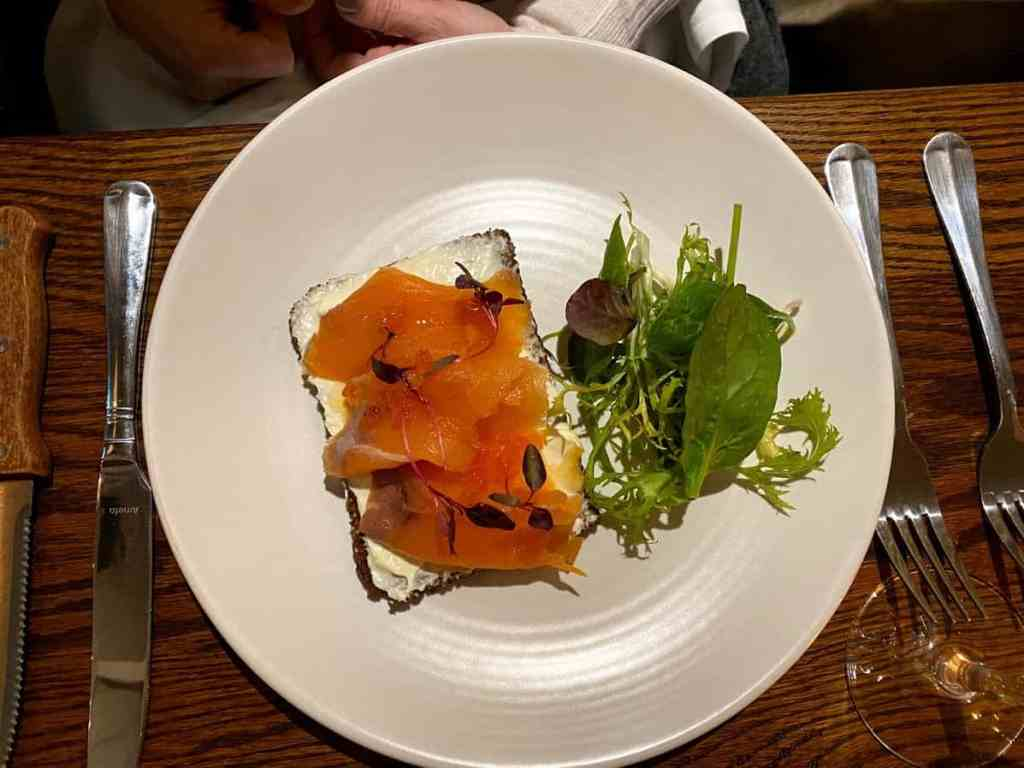 Smoked Salmon on Rye Bread Starter at The Kings Head