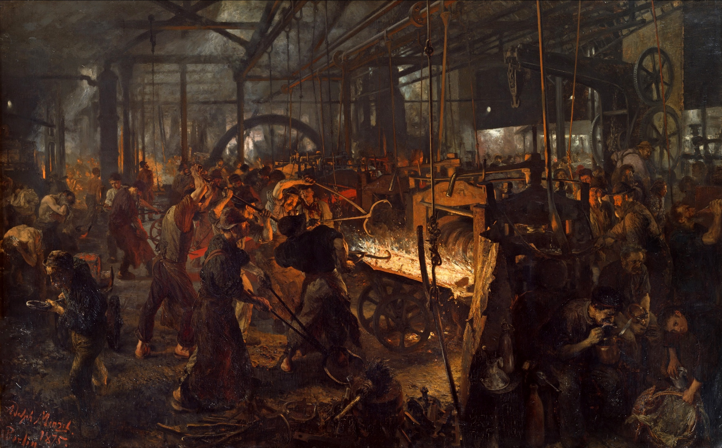 painting of a factory during Britain's industrial revolution