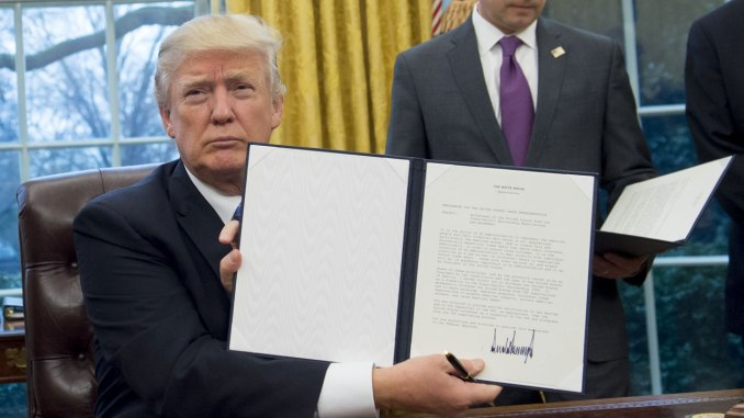 Donald Trump Signs Executive Order Scrapping TPP