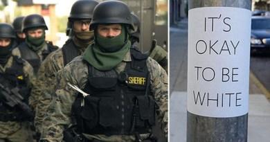 """Student – la Facultatea de Drept – EXMATRICULAT pentru afise cu: """"E ok să fii alb"""", interogat de Grupul Anti-Terorist al FBI"""